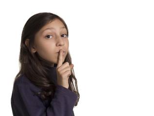 girl making silence gesture fingering