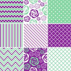Purple & Mint Seamless Patterns