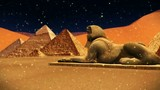Sphinx and pyramids in Egypt . abstract 3d graphics , vj