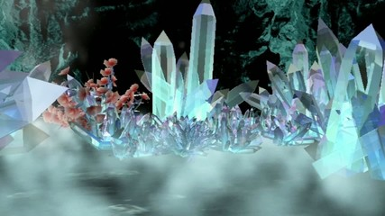 cave with crystals. abstract 3d graphics , vj