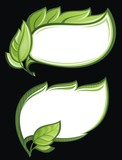 Vector set of green leaf frames