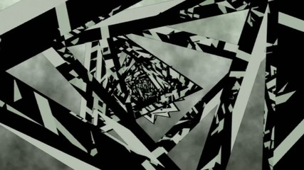 Tunnel of rotating triangles . abstract 3d graphics , vj
