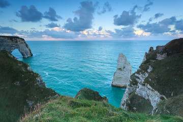 morning sky over Atlantic ocean and cliffs