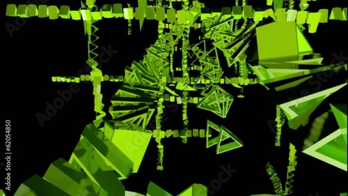green rotating triangles . abstract 3d graphics , vj