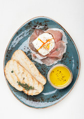 Prosciutto ham,  poached egg, chiabatta. Breakfast