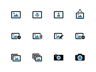 Photographs and Camera duotone icons.