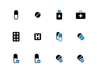 Pills, medication duotone icons on white background.