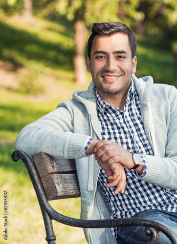 Portrait of a beautiful young man, outdoor