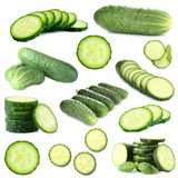 Collage of cucumbers isolated on white