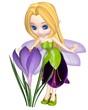Cute Toon Purple Crocus Fairy, Standing