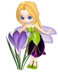 Cute Toon Purple Crocus Fairy, Standing