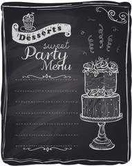 Chalk desserts party menu.