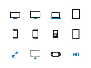 Screens duotone icons on white background.