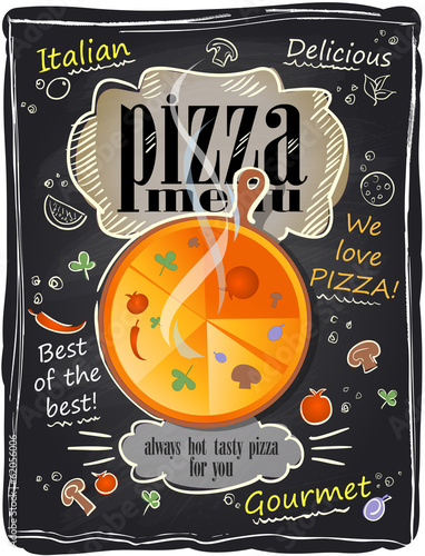 Vintage chalk pizza menu.