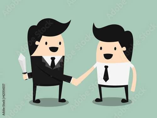 business partners handshaking while another people holding
