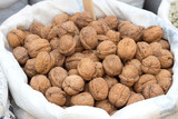 Walnuts on a market