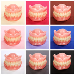 Compilation of dentures on colorful paper backgrounds