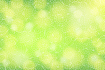 Green background with floral curls
