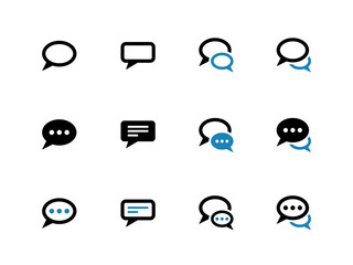 Speech bubble duotone icons on white background.