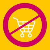Prohibiting sign crosses a  shopping cart.