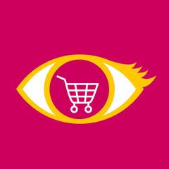 Eye with  shopping cart.