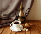 Cup of coffee, vintage coffee pot and figs