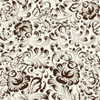 Ornate blue and white floral seamless pattern in Gzhel style
