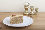Slice of Coffee Pecan Sponge Cake and Weights
