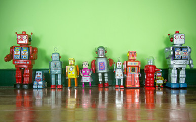 a line of retro robot toys