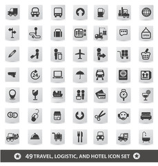 Travel, logistic and hotel icon set,vector