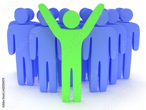 Group of stylized blue people with teamleader
