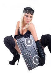 Sexy girl posing with audio equipment
