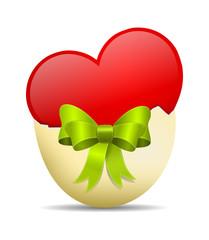 Herz in Eierschale mit Schleife
