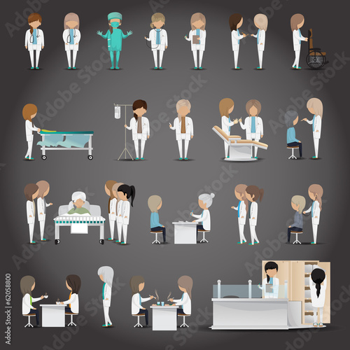Medical Staff - Isolated On Black Background