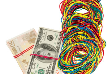 money connected by an elastic band