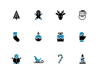 Christmas duotone icons on white background.