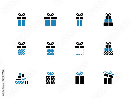 Gift box duotone icons on white background.
