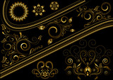 Gold border with pattern and details for design