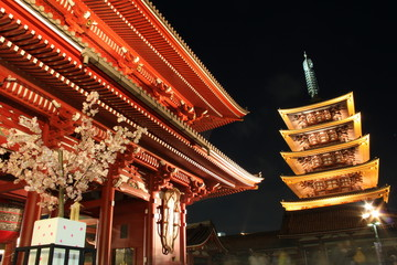 Gate and pagod of Senso-ji Temple at night, Asakusa, Tokyo, Japa