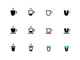 Tea mug and Coffee cup duotone icons.