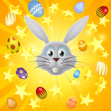 Easter bunny egg and star background