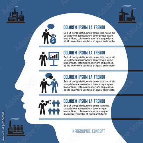 Business Infographic Concept with Human Head