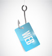 fishing hook and web tag illustration design