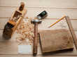Some carpenter tools on wooden box - 62060297