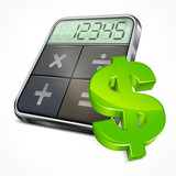 Calculator icons with dollar symbol on white, vector