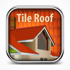 Square icon with red tile roof, vector illustration