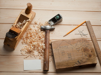 Some carpenter tools on wooden box