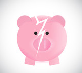 broken piggy bank illustration design