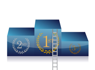ladder to first place in podium. concept