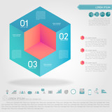 cubic infographic and business icon